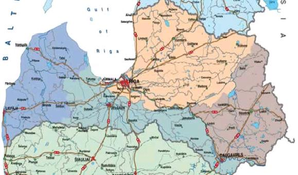 Latvia Online Maps Geographical Political Road Railway - Latvia map